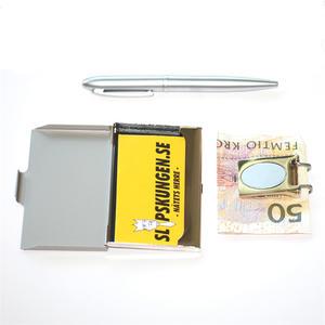 Kortetui, sedelklämma och penna