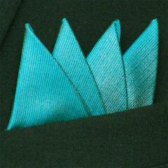 Färdigvikt bröstnäsduk Fyrspets FN062 Turkos/smaragdgrön