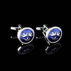 Manschettknappar Tre Kronor silver/mörkblå