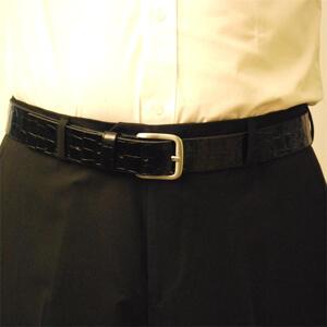 Läderbälte Kroko svart 35mm 809