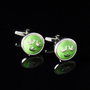 Manschettknappar Tre Kronor silver/ljusgrön